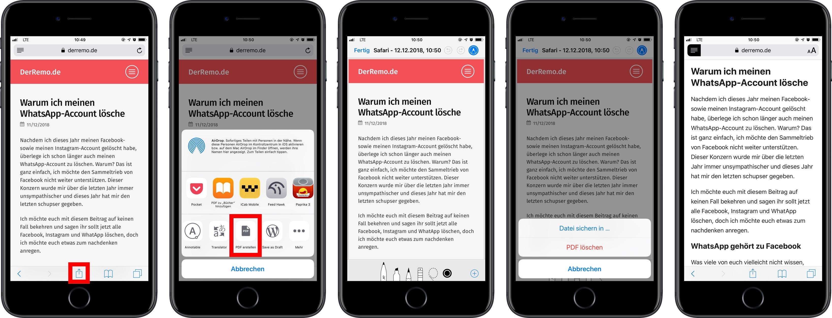 iOS: Webseiten als PDF sichern